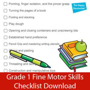 fine motor skills checklist
