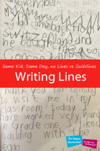how to teach a child to write on the line, letter sizing activities, writing on the lines, baseline orientation handwriting, letters on the line, writing on the line worksheets, how do I help my child to write on the lines, highlighting lines for handwriting, teaching my kid to write on lines