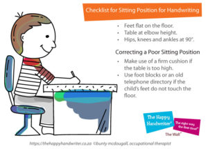 sitting posture and handwriting for kids, correct sitting posture for children, classroom sitting posture, how posture affects handwriting, handwriting ergonomics, proper writing posture, importance of good sitting posture, posture occupational therapy, writing posture sitting, importance of good sitting posture
