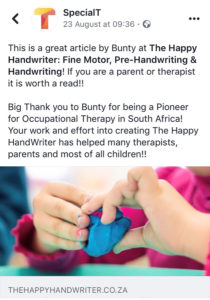bunty mcdougall occupational therapist, the happy handwriter, fine motor skills, prehandwriting skills, handwriting help for children, teaching handwriting in south africa