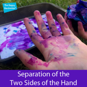 handwriting in kids, separation of the two sides of the hand, hand separation