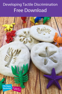 Salt dough fossils and sea animals to use for developing tactile discrimination. This is an important aspect of pre-writing skills for preschoolers. Accompanying a post about tactile perception activities by Bunty McDougall from The Happy Handwriter.