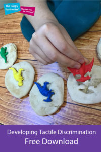 This dinosaur tactile discrimination and its link to pre-writing skills for preschoolers is discussed in this blog post by Bunty McDougall on The Happy Handwriter's fine motor and handwriting blog.