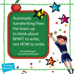 Motor skills development is critical for the development of automaticity in handwriting. Child need to think about WHAT to write, not HOW to write.